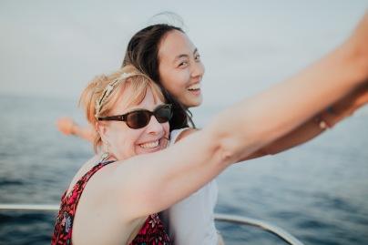 Cassandra and Gudrun's interpretation of the signature Titanic pose.